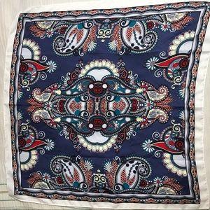 Vintage floral silky square scarf